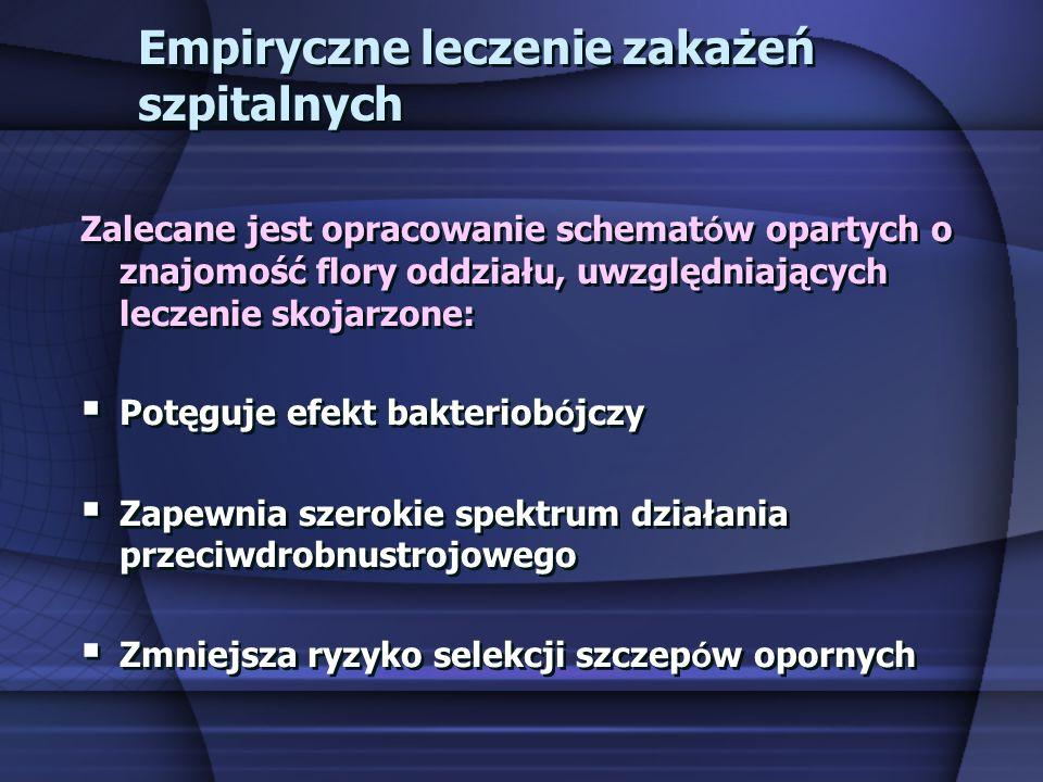 Empiryczne leczenie zakażeń szpitalnych Zalecane jest opracowanie schemat ó w opartych o znajomość flory oddziału, uwzględniających leczenie skojarzon