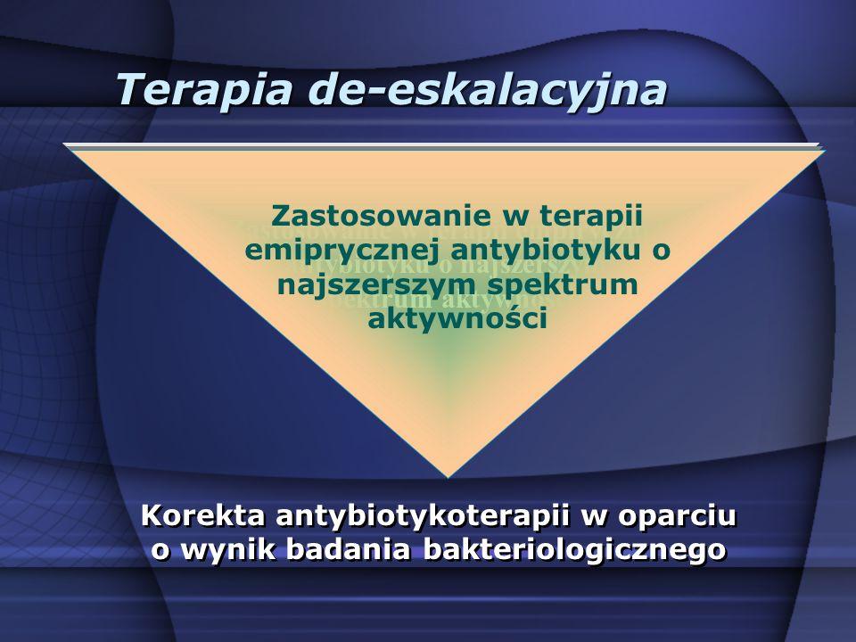 Terapia de-eskalacyjna Zastosowanie w terapii empirycznej antybiotyku o najszerszym spektrum aktywności Korekta antybiotykoterapii w oparciu o wynik b