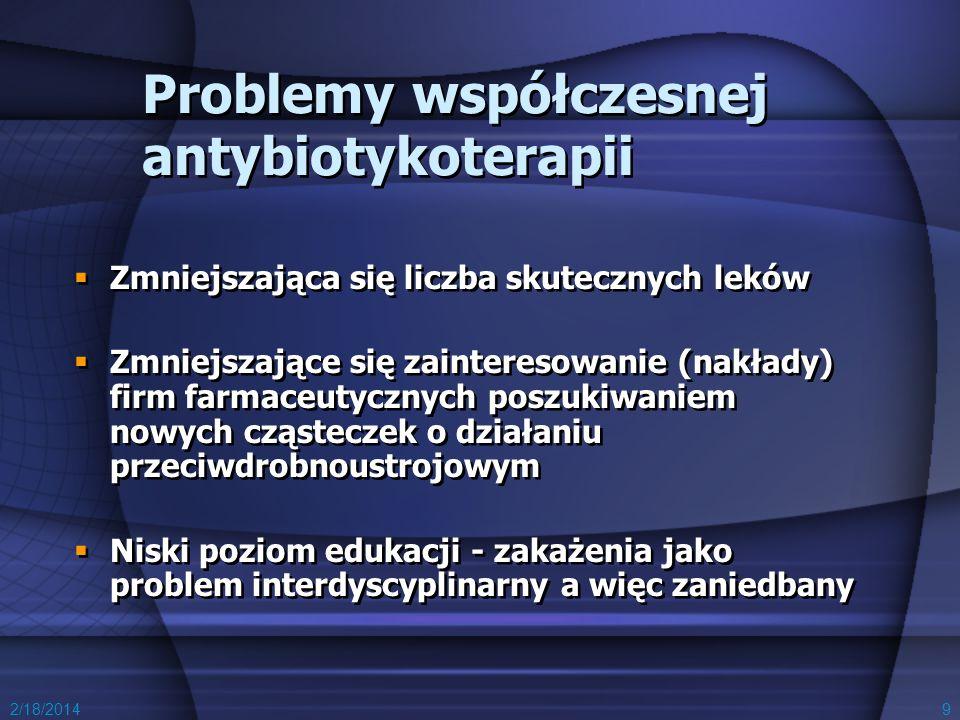 2/18/20149 Problemy współczesnej antybiotykoterapii Zmniejszająca się liczba skutecznych leków Zmniejszające się zainteresowanie (nakłady) firm farmac