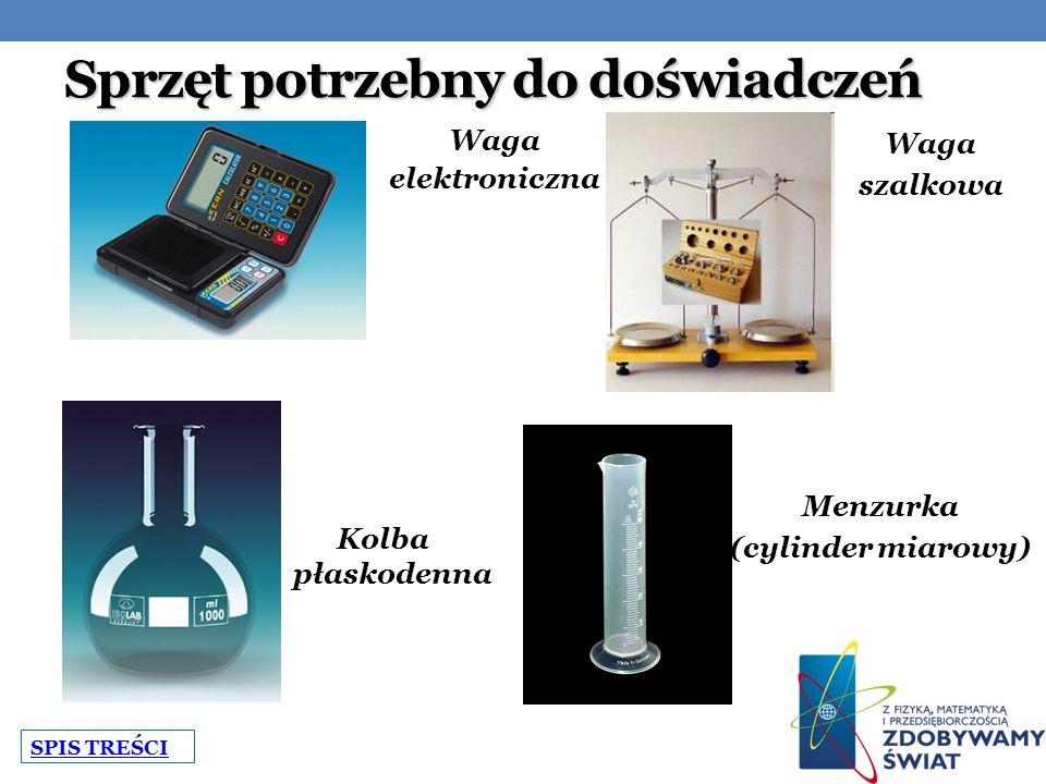 Sprzęt potrzebny do doświadczeń Waga elektroniczna Waga szalkowa Menzurka (cylinder miarowy) Kolba płaskodenna SPIS TREŚCI