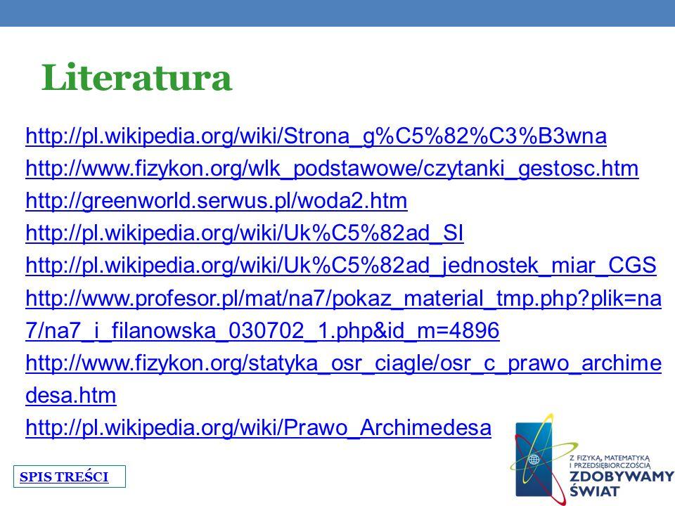 Literatura http://pl.wikipedia.org/wiki/Strona_g%C5%82%C3%B3wna http://www.fizykon.org/wlk_podstawowe/czytanki_gestosc.htm http://greenworld.serwus.pl