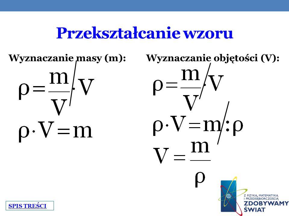 Przekształcanie wzoru Wyznaczanie masy (m): Wyznaczanie objętości (V): SPIS TREŚCI
