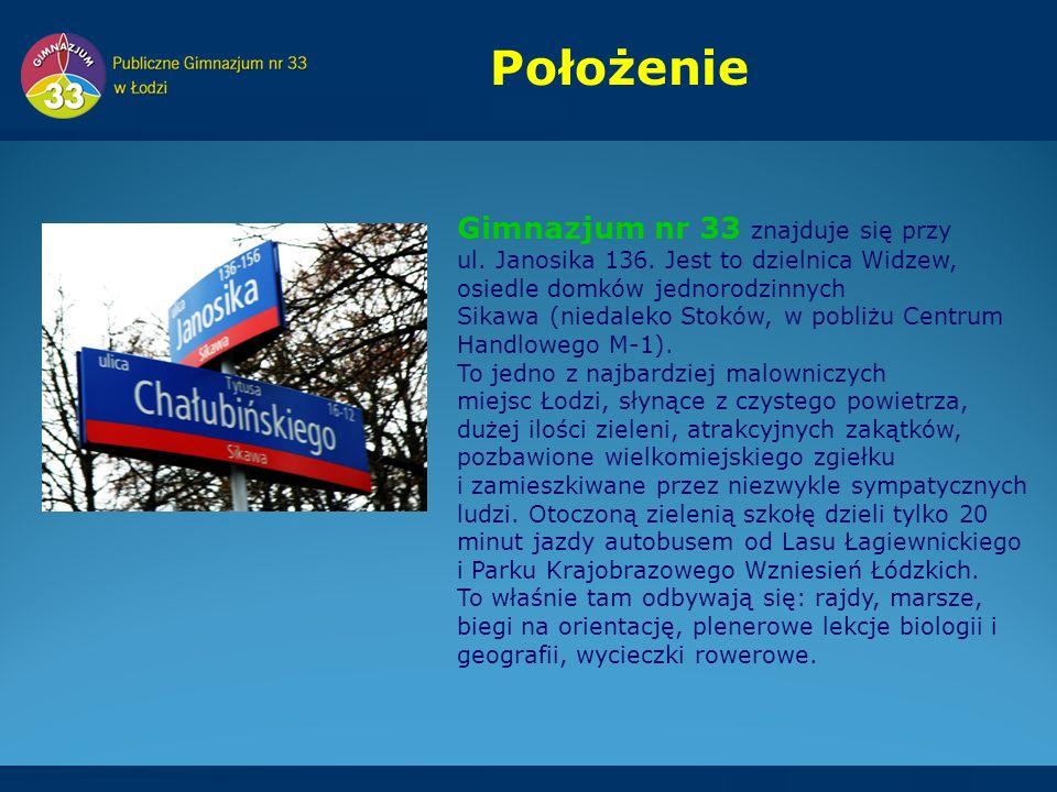 Gimnazjum nr 33 znajduje się przy ul. Janosika 136.