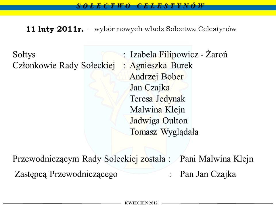 z działalności Sołtysa i Rady Sołeckiej za rok 2011 KWIECIEŃ 2012 SOŁECTWO CELESTYNÓW