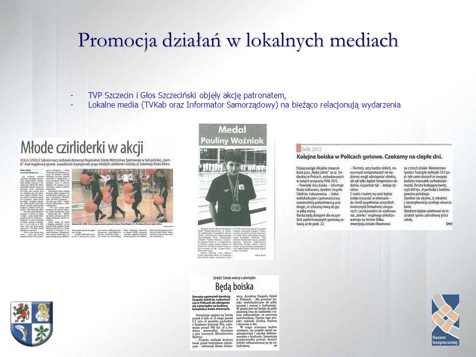 Promocja działań w lokalnych mediach -TVP Szczecin i Głos Szczeciński objęły akcję patronatem, -Lokalne media (TVKab oraz Informator Samorządowy) na bieżąco relacjonują wydarzenia