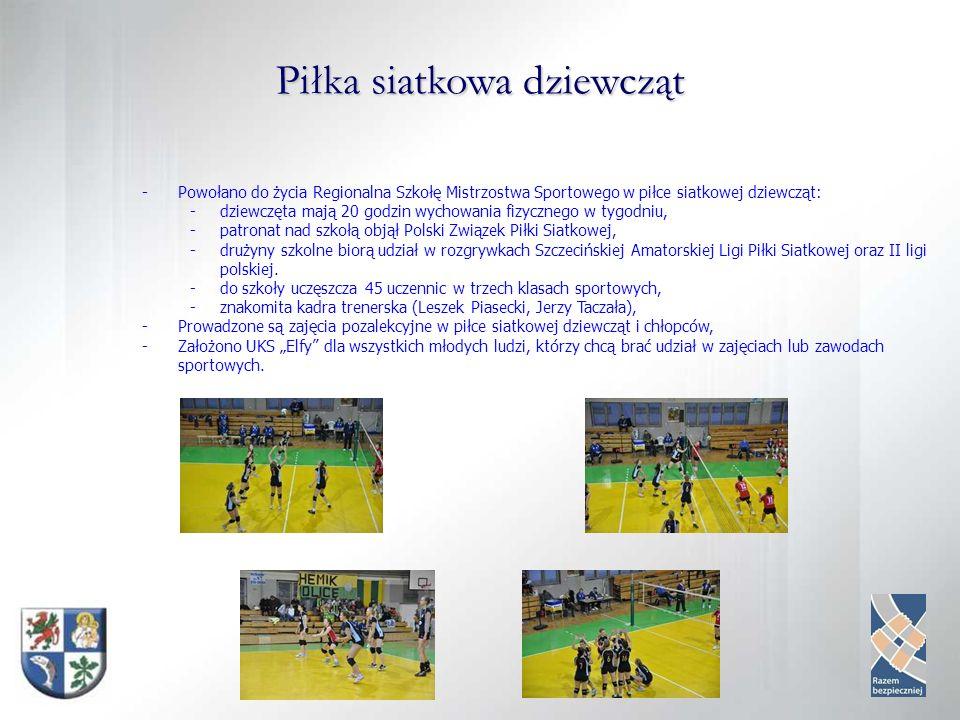 Piłka siatkowa dziewcząt -Powołano do życia Regionalna Szkołę Mistrzostwa Sportowego w piłce siatkowej dziewcząt: -dziewczęta mają 20 godzin wychowania fizycznego w tygodniu, -patronat nad szkołą objął Polski Związek Piłki Siatkowej, -drużyny szkolne biorą udział w rozgrywkach Szczecińskiej Amatorskiej Ligi Piłki Siatkowej oraz II ligi polskiej.