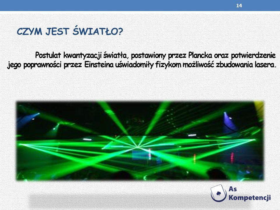 CZYM JEST ŚWIATŁO? Postulat kwantyzacji światła, postawiony przez Plancka oraz potwierdzenie jego poprawności przez Einsteina uświadomiły fizykom możl