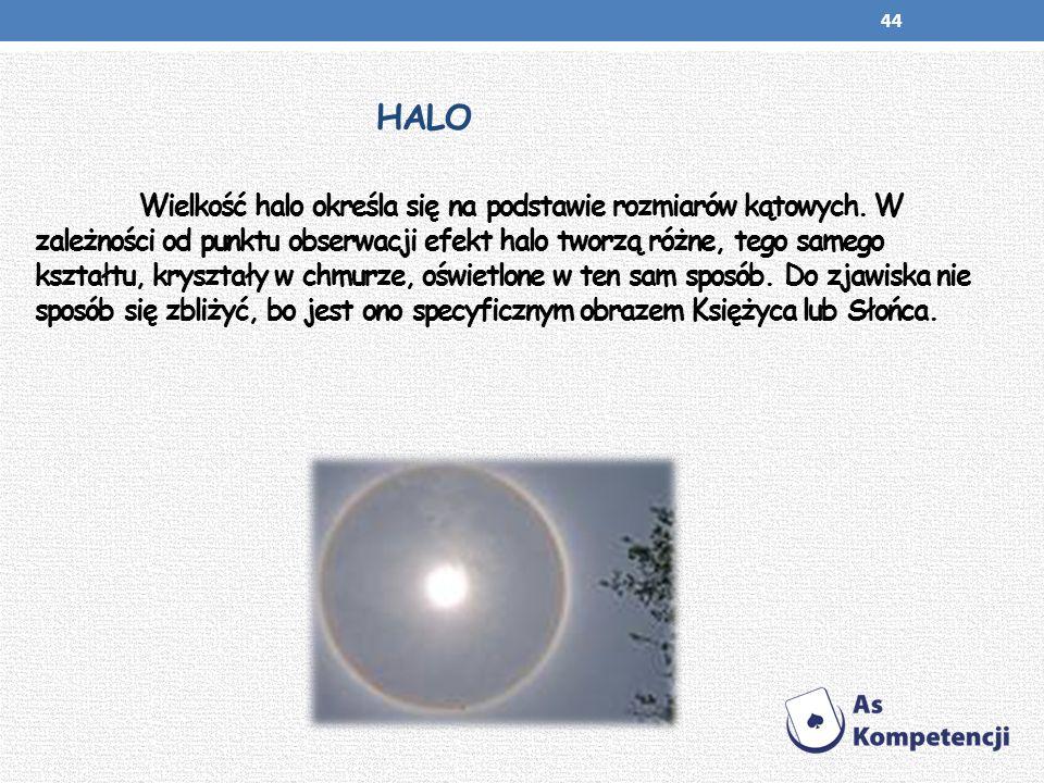 HALO Wielkość halo określa się na podstawie rozmiarów kątowych. W zależności od punktu obserwacji efekt halo tworzą różne, tego samego kształtu, krysz