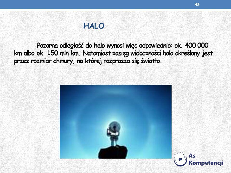 HALO Pozorna odległość do halo wynosi więc odpowiednio: ok. 400 000 km albo ok. 150 mln km. Natomiast zasięg widoczności halo określony jest przez roz