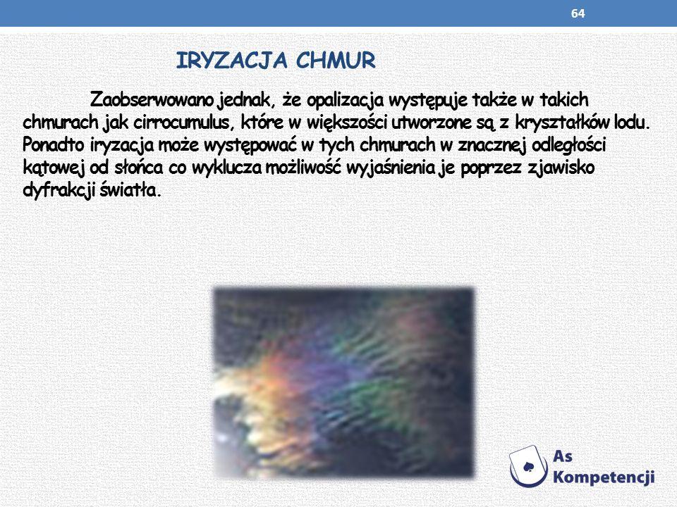 IRYZACJA CHMUR Zaobserwowano jednak, że opalizacja występuje także w takich chmurach jak cirrocumulus, które w większości utworzone są z kryształków l
