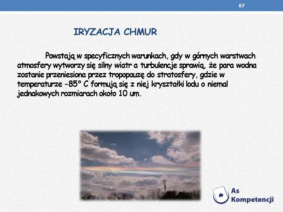 IRYZACJA CHMUR Powstają w specyficznych warunkach, gdy w górnych warstwach atmosfery wytworzy się silny wiatr a turbulencje sprawią, że para wodna zos