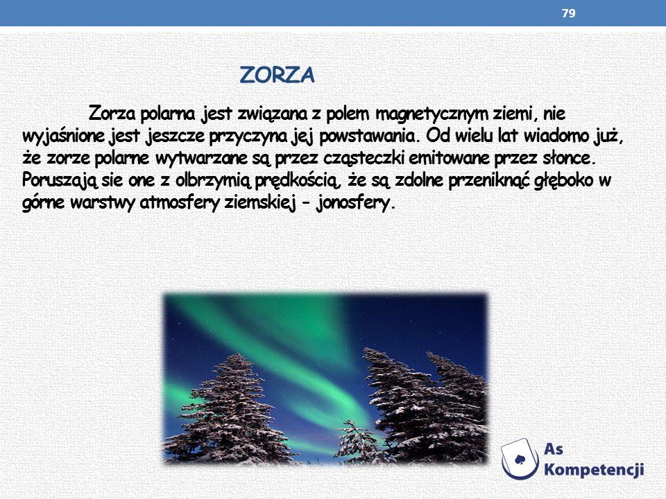 ZORZA Zorza polarna jest związana z polem magnetycznym ziemi, nie wyjaśnione jest jeszcze przyczyna jej powstawania. Od wielu lat wiadomo już, że zorz