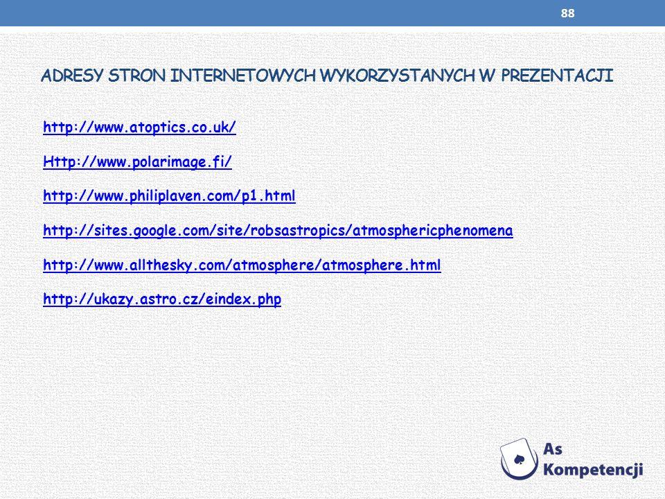 ADRESY STRON INTERNETOWYCH WYKORZYSTANYCH W PREZENTACJI http://www.atoptics.co.uk/ Http://www.polarimage.fi/ http://www.philiplaven.com/p1.html http:/