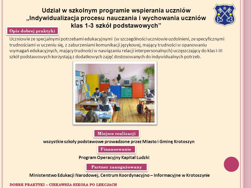 Opis dobrej praktyki Partner zaangażowany Miejsce realizacji Finansowanie Udział w szkolnym programie wspierania uczniów Indywidualizacja procesu nauc