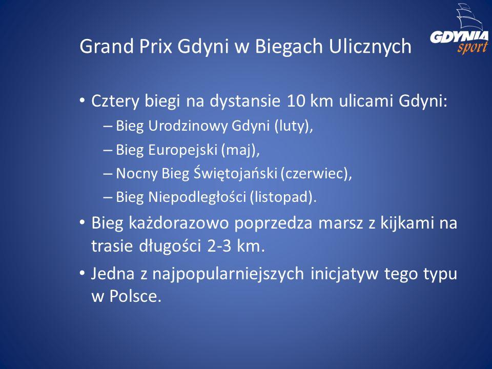 Grand Prix Gdyni w Biegach Ulicznych Cztery biegi na dystansie 10 km ulicami Gdyni: – Bieg Urodzinowy Gdyni (luty), – Bieg Europejski (maj), – Nocny B