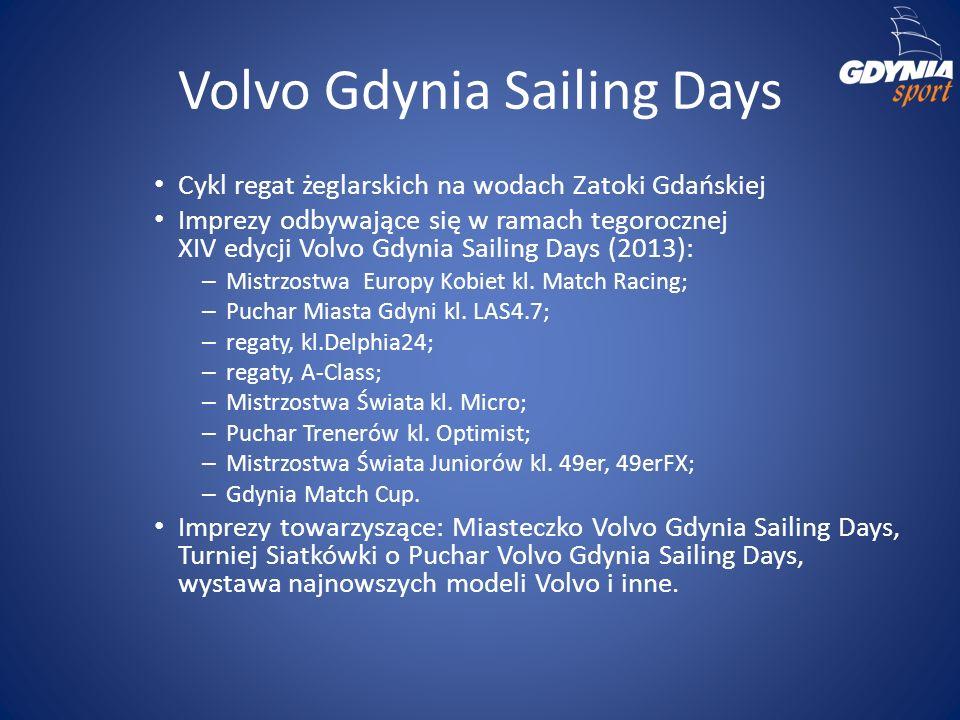 Volvo Gdynia Sailing Days Cykl regat żeglarskich na wodach Zatoki Gdańskiej Imprezy odbywające się w ramach tegorocznej XIV edycji Volvo Gdynia Sailing Days (2013): – Mistrzostwa Europy Kobiet kl.