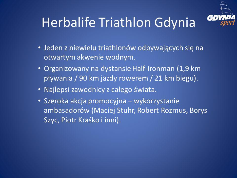 Herbalife Triathlon Gdynia Jeden z niewielu triathlonów odbywających się na otwartym akwenie wodnym. Organizowany na dystansie Half-Ironman (1,9 km pł