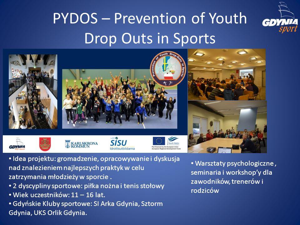 PYDOS – Prevention of Youth Drop Outs in Sports Idea projektu: gromadzenie, opracowywanie i dyskusja nad znalezieniem najlepszych praktyk w celu zatrzymania młodzieży w sporcie.
