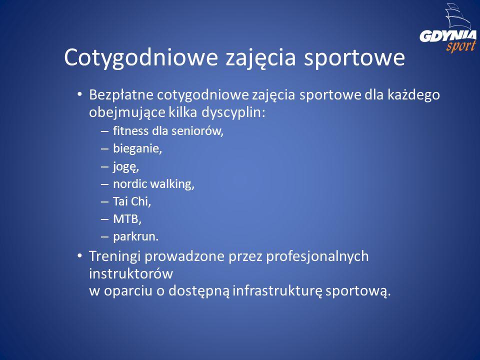 Cotygodniowe zajęcia sportowe Bezpłatne cotygodniowe zajęcia sportowe dla każdego obejmujące kilka dyscyplin: – fitness dla seniorów, – bieganie, – jo