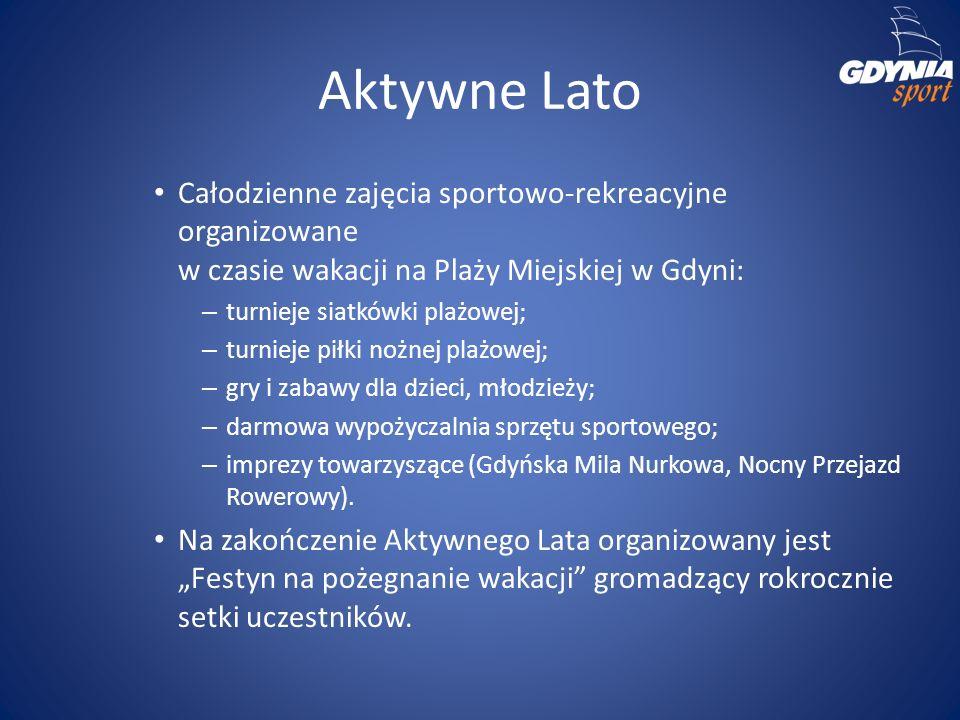 Aktywne Lato Całodzienne zajęcia sportowo-rekreacyjne organizowane w czasie wakacji na Plaży Miejskiej w Gdyni: – turnieje siatkówki plażowej; – turni