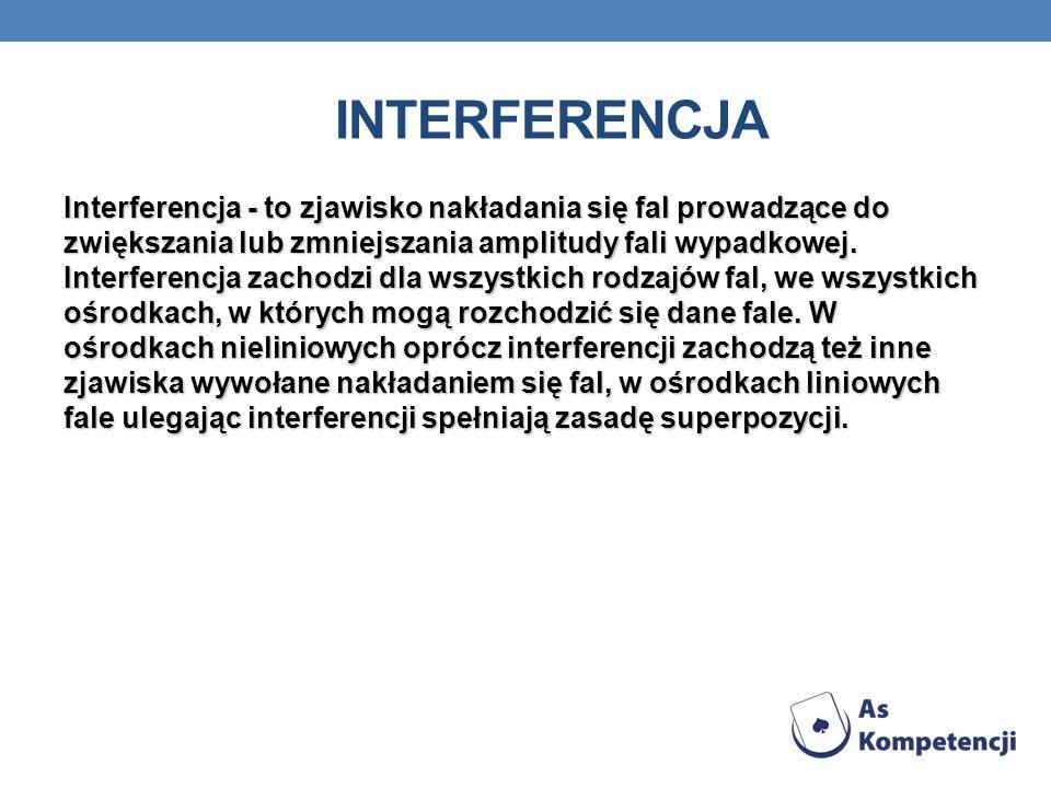 Interferencja - to zjawisko nakładania się fal prowadzące do zwiększania lub zmniejszania amplitudy fali wypadkowej. Interferencja zachodzi dla wszyst