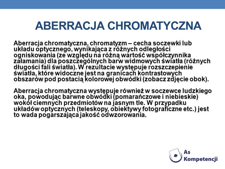 Aberracja chromatyczna, chromatyzm – cecha soczewki lub układu optycznego, wynikająca z różnych odległości ogniskowania (ze względu na różną wartość w