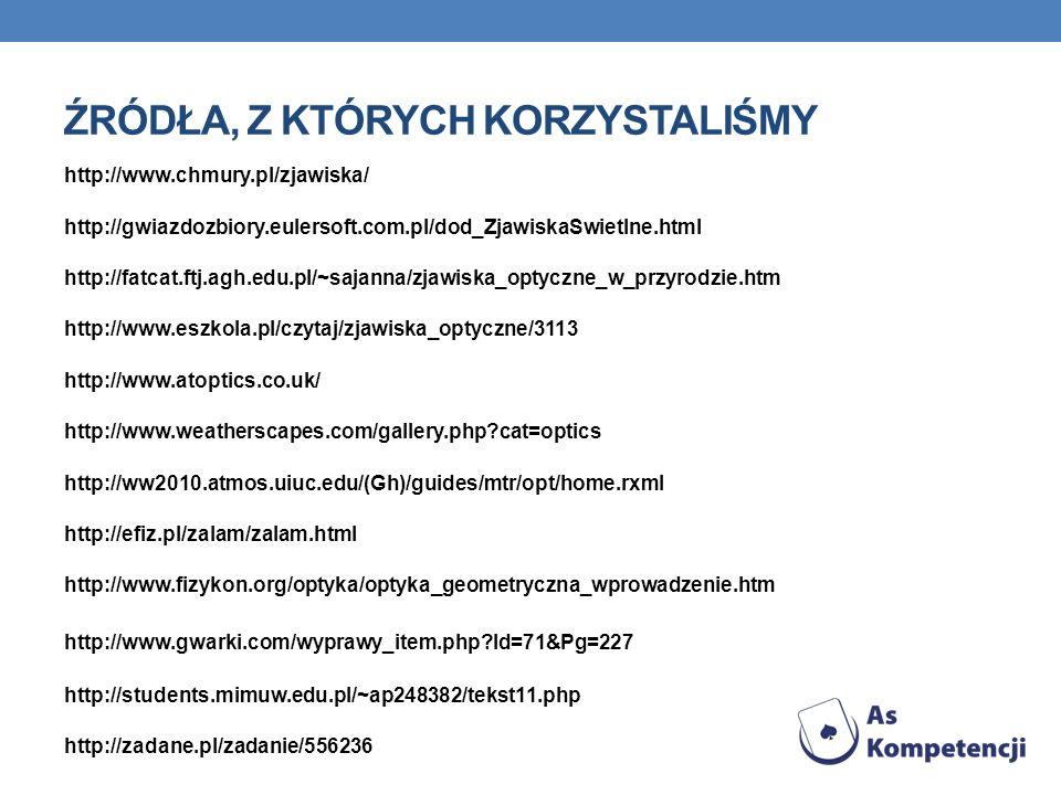 http://www.chmury.pl/zjawiska/ http://gwiazdozbiory.eulersoft.com.pl/dod_ZjawiskaSwietlne.html http://fatcat.ftj.agh.edu.pl/~sajanna/zjawiska_optyczne