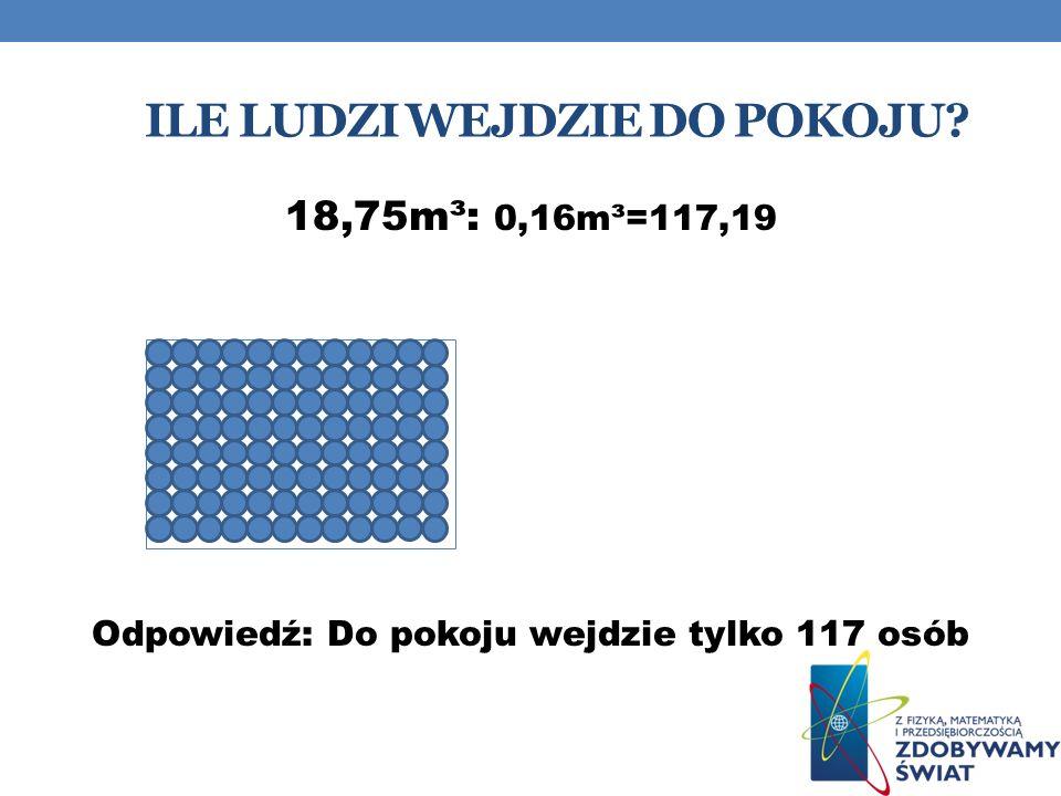 ILE LUDZI WEJDZIE DO POKOJU? 18,75m³: 0,16m³=117,19 Odpowiedź: Do pokoju wejdzie tylko 117 osób