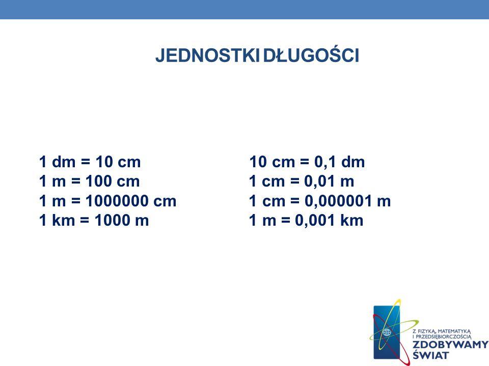 JEDNOSTKI DŁUGOŚCI 1 dm = 10 cm 10 cm = 0,1 dm 1 m = 100 cm 1 cm = 0,01 m 1 m = 1000000 cm 1 cm = 0,000001 m 1 km = 1000 m 1 m = 0,001 km