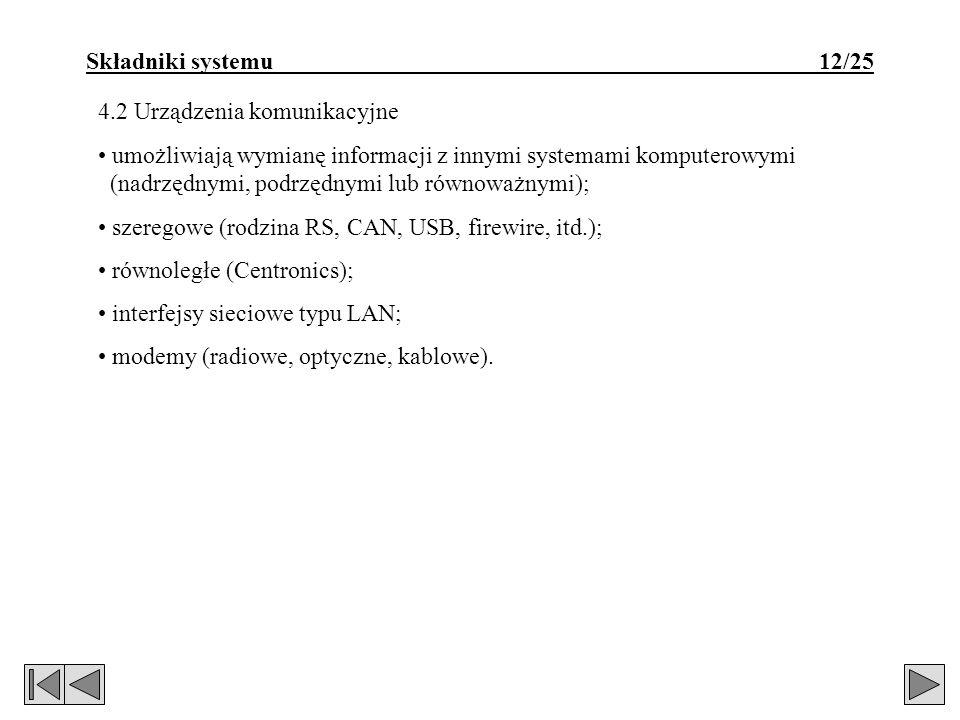Składniki systemu 12/25 4.2 Urządzenia komunikacyjne umożliwiają wymianę informacji z innymi systemami komputerowymi (nadrzędnymi, podrzędnymi lub rów