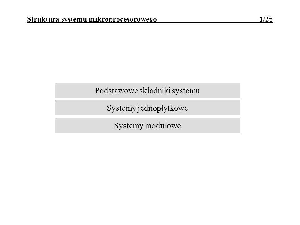 Mikrokomputer jednopłytkowy 22/25 Cechy: na jednej płytce drukowanej znajdują się wszystkie niezbędne składniki systemu: CPU, PAO, porty we/wy, obwody przerwań, timer; system przeznaczony do realizacji określonych zadań (lokalne sterowniki, itp.); przystosowany do zabudowania w innym urządzeniu; utrudniony serwis - wymiana całego systemu; Może być zaprojektowany: na miarę potrzeb, minimalnym kosztem - tzw.