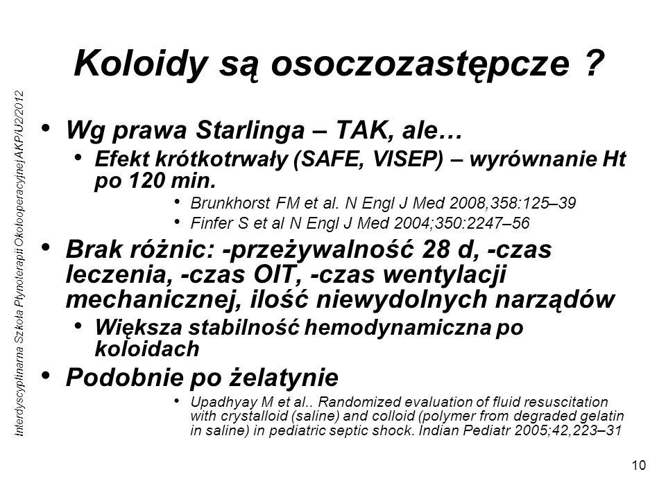 Interdyscyplinarna Szkoła Płynoterapii Okołooperacyjnej AKP/U2/2012 10 Koloidy są osoczozastępcze ? Wg prawa Starlinga – TAK, ale… Efekt krótkotrwały