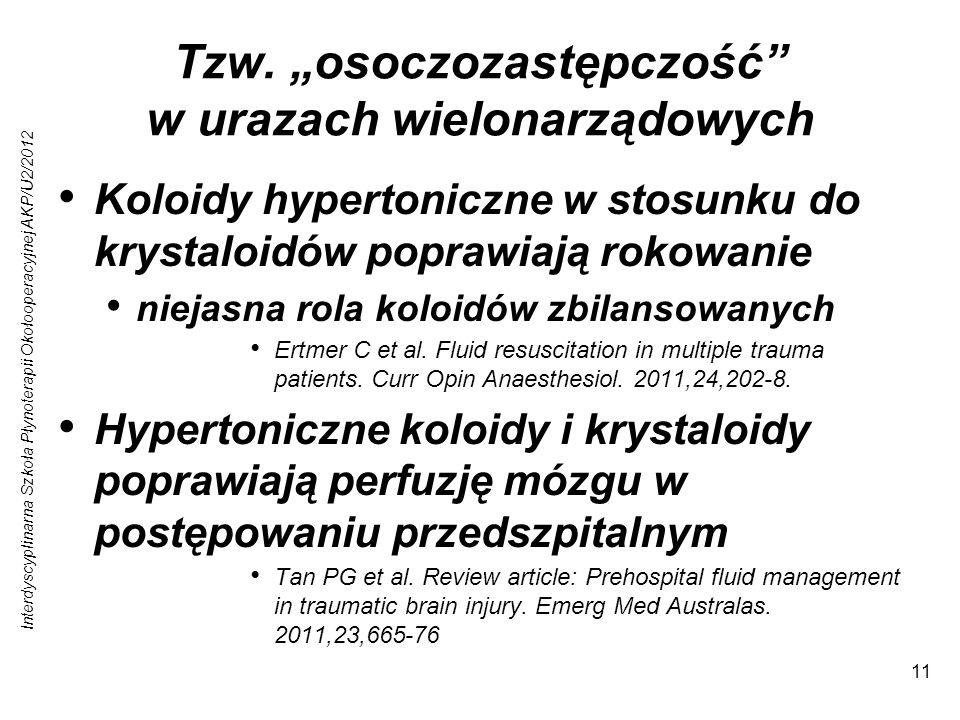 Interdyscyplinarna Szkoła Płynoterapii Okołooperacyjnej AKP/U2/2012 11 Tzw. osoczozastępczość w urazach wielonarządowych Koloidy hypertoniczne w stosu