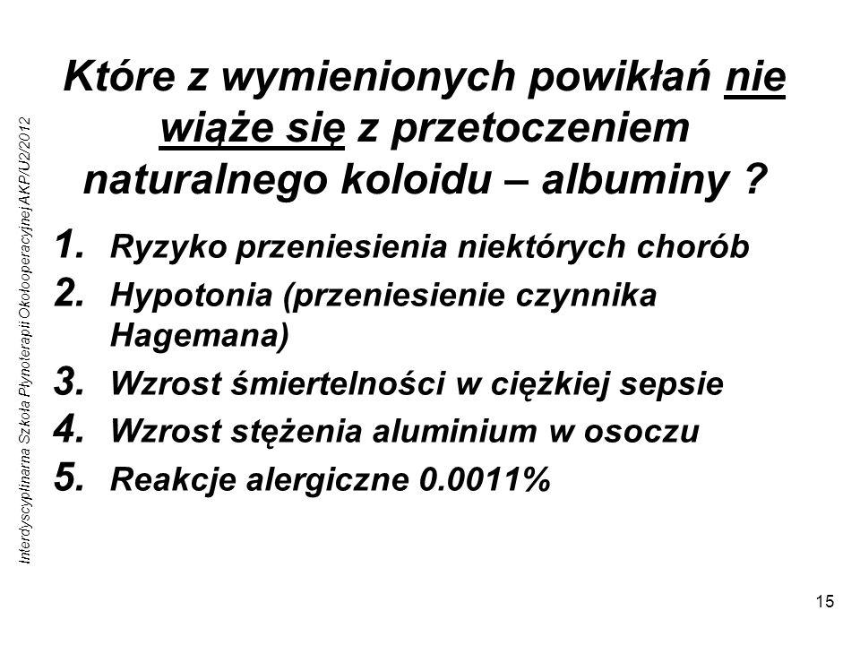 Interdyscyplinarna Szkoła Płynoterapii Okołooperacyjnej AKP/U2/2012 15 Które z wymienionych powikłań nie wiąże się z przetoczeniem naturalnego koloidu