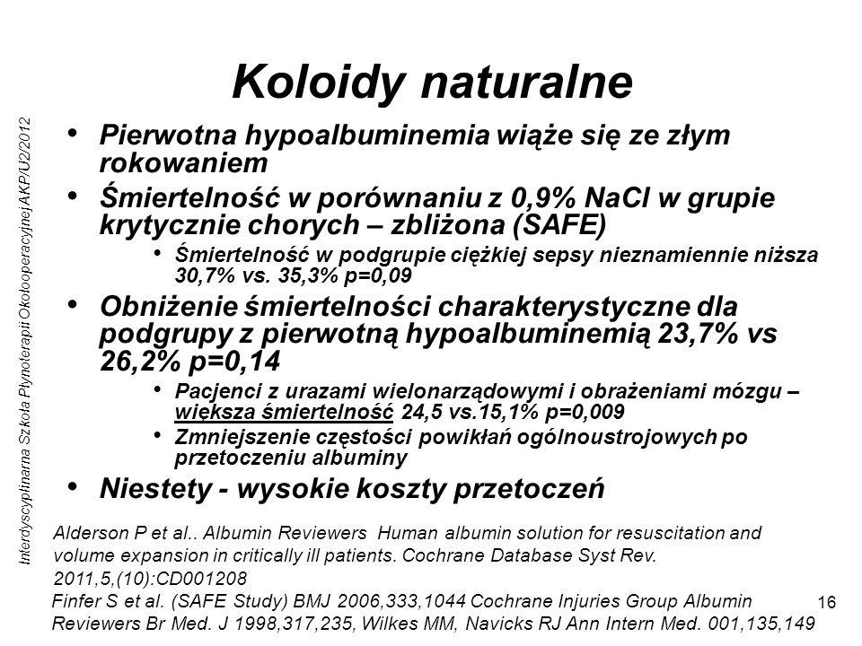 Interdyscyplinarna Szkoła Płynoterapii Okołooperacyjnej AKP/U2/2012 16 Koloidy naturalne Pierwotna hypoalbuminemia wiąże się ze złym rokowaniem Śmiertelność w porównaniu z 0,9% NaCl w grupie krytycznie chorych – zbliżona (SAFE) Śmiertelność w podgrupie ciężkiej sepsy nieznamiennie niższa 30,7% vs.