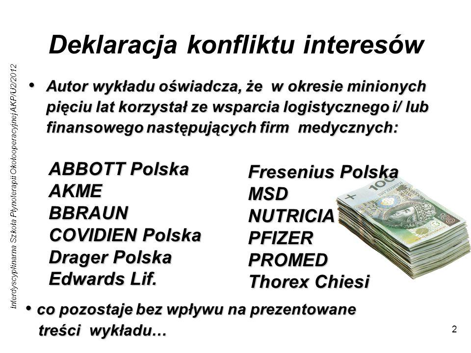 Interdyscyplinarna Szkoła Płynoterapii Okołooperacyjnej AKP/U2/2012 33 Roztwory niezbilansowane czy zbilansowane .