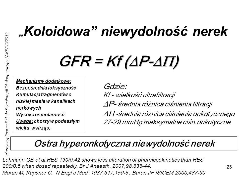 Interdyscyplinarna Szkoła Płynoterapii Okołooperacyjnej AKP/U2/2012 23 Koloidowa niewydolność nerek GFR = Kf ( P- ) Gdzie: Kf - wielkość ultrafiltracji P- średnia różnica ciśnienia filtracji -średnia różnica ciśnienia onkotycznego 27-29 mmHg maksymalne ciśn.onkotyczne Moran M, Kapsner C.