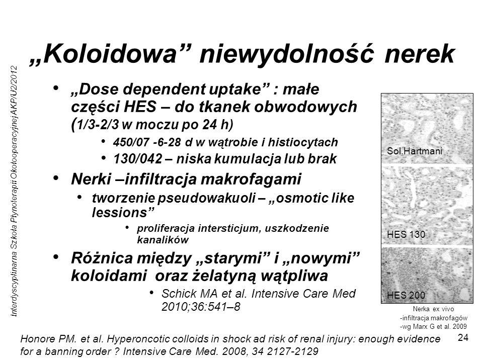 Interdyscyplinarna Szkoła Płynoterapii Okołooperacyjnej AKP/U2/2012 24 Koloidowa niewydolność nerek Dose dependent uptake : małe części HES – do tkane