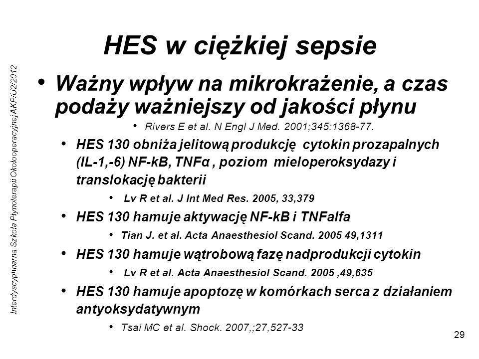 Interdyscyplinarna Szkoła Płynoterapii Okołooperacyjnej AKP/U2/2012 29 HES w ciężkiej sepsie Ważny wpływ na mikrokrażenie, a czas podaży ważniejszy od jakości płynu Rivers E et al.