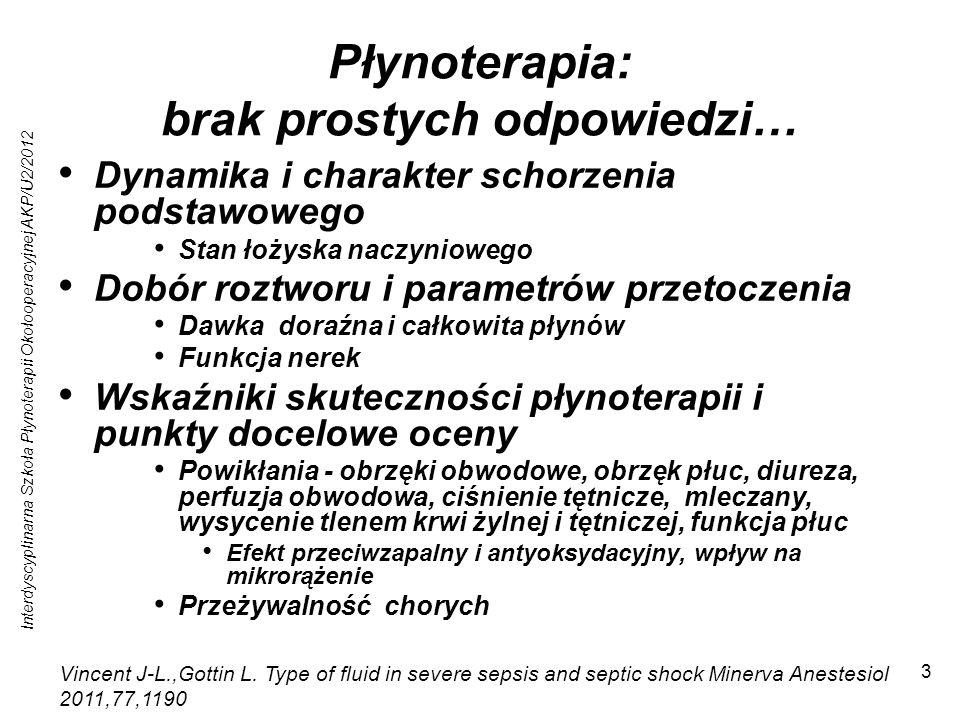 Interdyscyplinarna Szkoła Płynoterapii Okołooperacyjnej AKP/U2/2012 34 Krystaloidy Przetoczenia roztworów z różnicą SID =0 oraz duża zawartość jonów chloru powoduje kwasicę hyperchloremiczną Skurcz naczyń nerkowych Spadek przesączania kłębkowego GFR Powyżej 115 mmol/l - wzrost oporu naczyniowego Zaburzenia perfuzji trzewnej Obniżenie aktywności reniny Hypotonia Efekt jest mniej znaczący klinicznie niż pierwotnie szacowano Handy JM, Soni N.