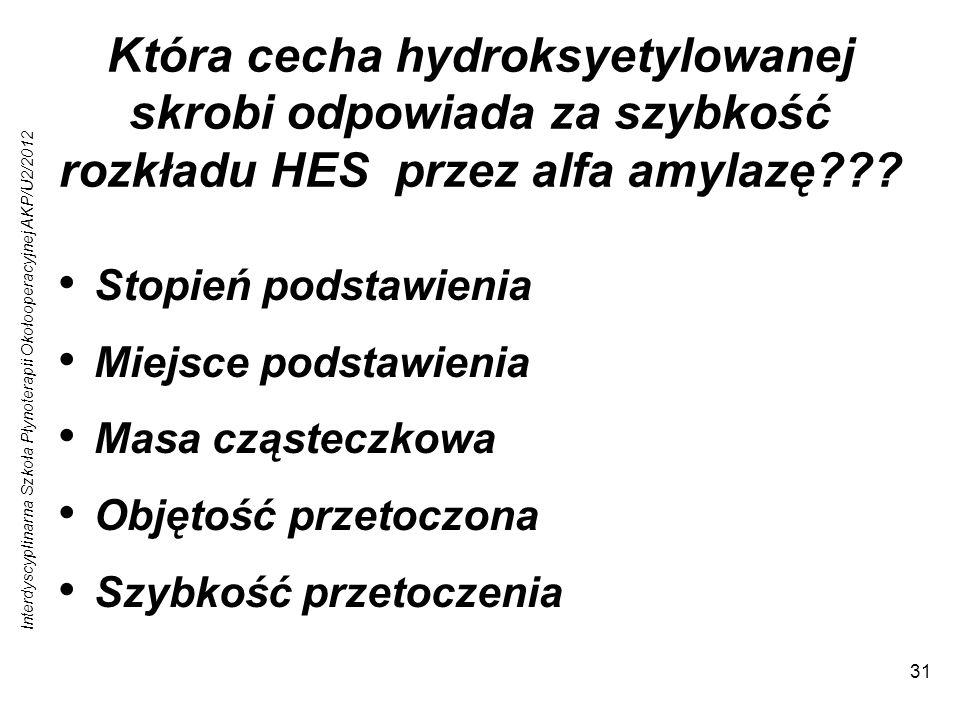 Interdyscyplinarna Szkoła Płynoterapii Okołooperacyjnej AKP/U2/2012 31 Która cecha hydroksyetylowanej skrobi odpowiada za szybkość rozkładu HES przez