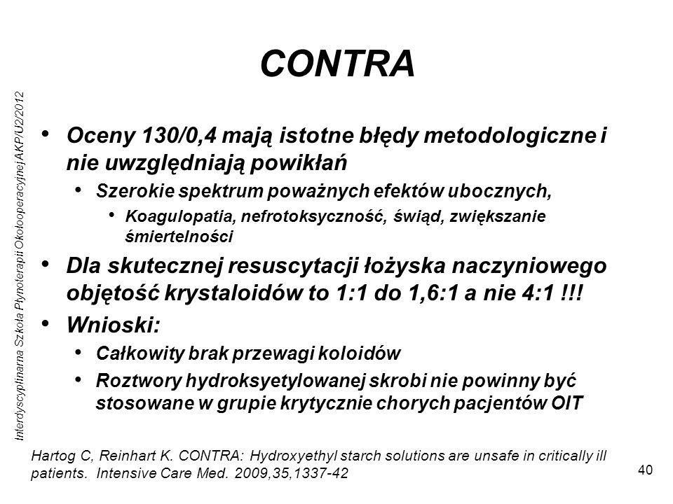 Interdyscyplinarna Szkoła Płynoterapii Okołooperacyjnej AKP/U2/2012 40 CONTRA Oceny 130/0,4 mają istotne błędy metodologiczne i nie uwzględniają powikłań Szerokie spektrum poważnych efektów ubocznych, Koagulopatia, nefrotoksyczność, świąd, zwiększanie śmiertelności Dla skutecznej resuscytacji łożyska naczyniowego objętość krystaloidów to 1:1 do 1,6:1 a nie 4:1 !!.