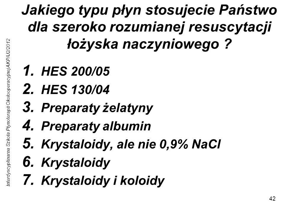 Interdyscyplinarna Szkoła Płynoterapii Okołooperacyjnej AKP/U2/2012 42 Jakiego typu płyn stosujecie Państwo dla szeroko rozumianej resuscytacji łożyska naczyniowego .