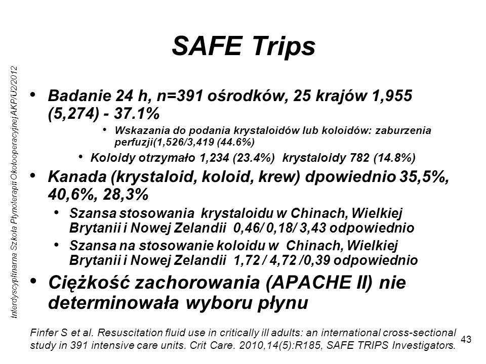 Interdyscyplinarna Szkoła Płynoterapii Okołooperacyjnej AKP/U2/2012 43 SAFE Trips Badanie 24 h, n=391 ośrodków, 25 krajów 1,955 (5,274) - 37.1% Wskazania do podania krystaloidów lub koloidów: zaburzenia perfuzji(1,526/3,419 (44.6%) Koloidy otrzymało 1,234 (23.4%) krystaloidy 782 (14.8%) Kanada (krystaloid, koloid, krew) dpowiednio 35,5%, 40,6%, 28,3% Szansa stosowania krystaloidu w Chinach, Wielkiej Brytanii i Nowej Zelandii 0,46/ 0,18/ 3,43 odpowiednio Szansa na stosowanie koloidu w Chinach, Wielkiej Brytanii i Nowej Zelandii 1,72 / 4,72 /0,39 odpowiednio Ciężkość zachorowania (APACHE II) nie determinowała wyboru płynu Finfer S et al.