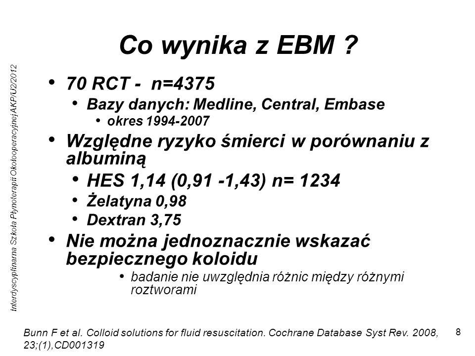 Interdyscyplinarna Szkoła Płynoterapii Okołooperacyjnej AKP/U2/2012 8 Co wynika z EBM ? 70 RCT - n=4375 Bazy danych: Medline, Central, Embase okres 19
