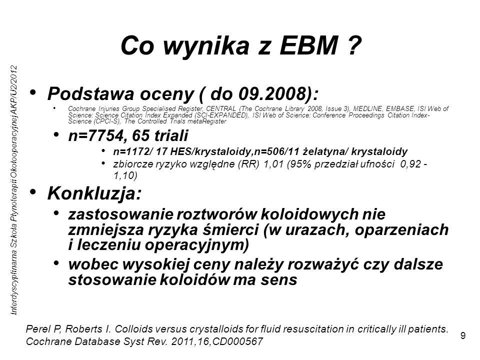Interdyscyplinarna Szkoła Płynoterapii Okołooperacyjnej AKP/U2/2012 9 Co wynika z EBM ? Podstawa oceny ( do 09.2008): Cochrane Injuries Group Speciali