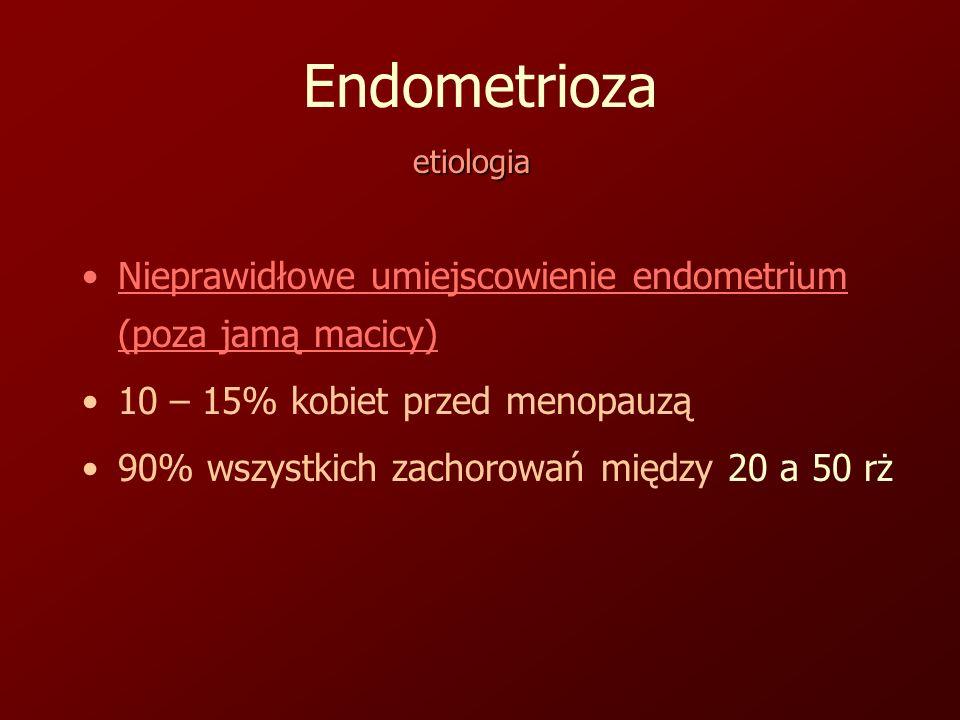 Endometrioza Nieprawidłowe umiejscowienie endometrium (poza jamą macicy) 10 – 15% kobiet przed menopauzą 90% wszystkich zachorowań między 20 a 50 rż etiologia