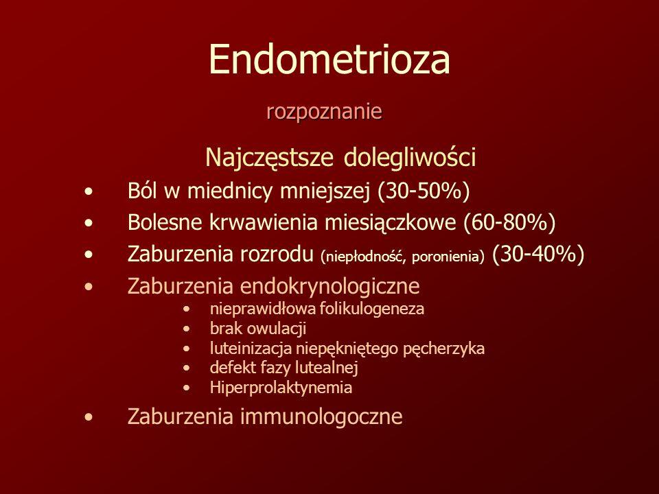 Endometrioza rozpoznanie Najczęstsze dolegliwości Ból w miednicy mniejszej (30-50%) Bolesne krwawienia miesiączkowe (60-80%) Zaburzenia rozrodu (niepłodność, poronienia) (30-40%) Zaburzenia endokrynologiczne nieprawidłowa folikulogeneza brak owulacji luteinizacja niepękniętego pęcherzyka defekt fazy lutealnej Hiperprolaktynemia Zaburzenia immunologoczne