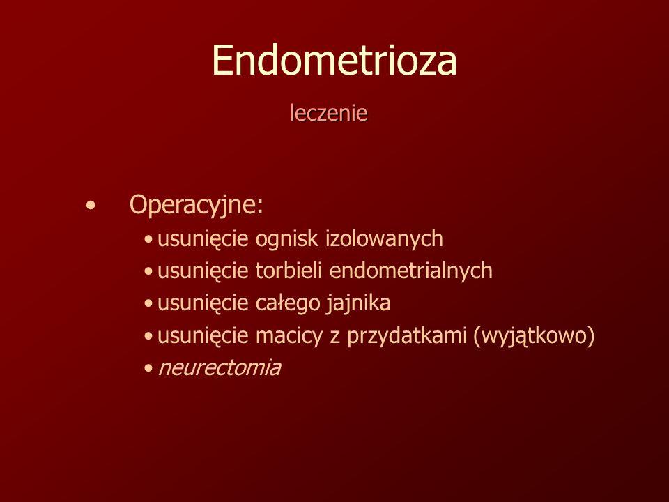 Endometrioza leczenie Operacyjne: usunięcie ognisk izolowanych usunięcie torbieli endometrialnych usunięcie całego jajnika usunięcie macicy z przydatkami (wyjątkowo) neurectomia