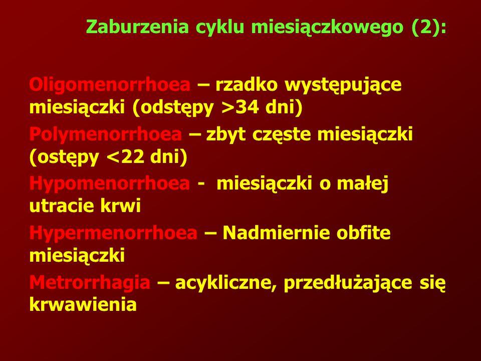 Zaburzenia cyklu miesiączkowego (2): Oligomenorrhoea – rzadko występujące miesiączki (odstępy >34 dni) Polymenorrhoea – zbyt częste miesiączki (ostępy <22 dni) Hypomenorrhoea - miesiączki o małej utracie krwi Hypermenorrhoea – Nadmiernie obfite miesiączki Metrorrhagia – acykliczne, przedłużające się krwawienia
